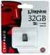 Карта памяти microSDHC Kingston 32 GB (класс 10, UHS-I, 100 МБ/с, без адаптера)