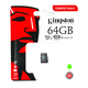 Карта памяти microSDHC Kingston 64 GB (класс 10, UHS-I, 100 МБ/с, без адаптера)