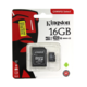 Карта памяти microSDHC Kingston 16 GB (класс 10, UHS-I, 100 МБ/с, с адаптером)